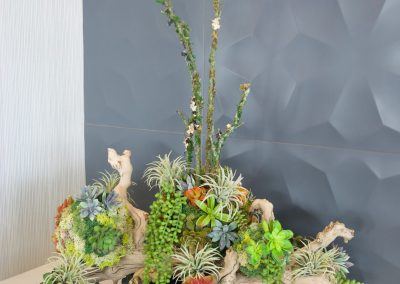 Artificial Succulents in Faux Wood Container