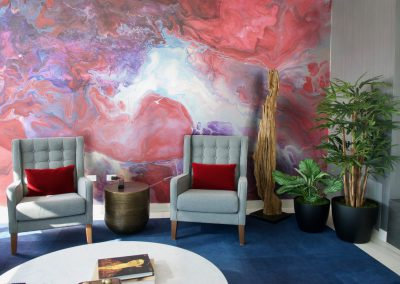 Artificial plants in a seating area