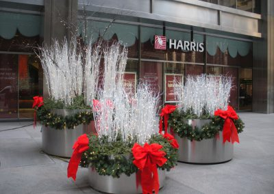 White & Red Exterior Holiday Planters