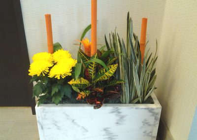 Mixed Live in Marble Planter