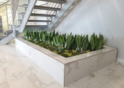 Planter with live and artificial