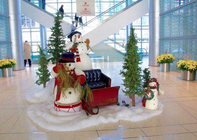 Snowman scene in Chicago Lobby
