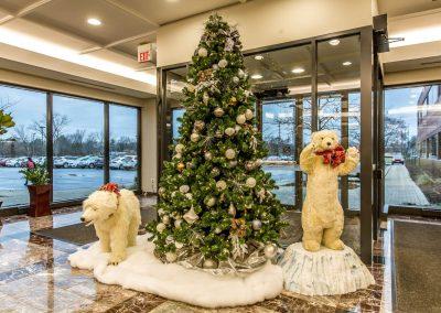 Silver & Grey Christmas Tree in Polar Bear Scene