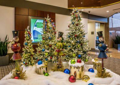 Colorful Nutcracker Snowmen Holiday Scene